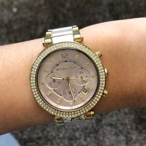 Michael Kors Gold and Blush Parker Watch